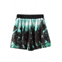 Coconut Tree Print Elastic Waist Shorts