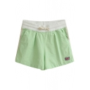 Green Sweet Style Flag Embroidered Drawstring Waist Shorts