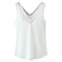 White V-Neck Plain Sheer Mesh Insert Chiffon Top