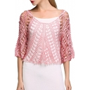 Pink Scoop Neck 1/2 Sleeve Lace Cutout Blouse