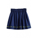 Embroidered Hem Elastic Waist Mini Skirt