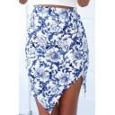 Floral Print Asymmetric Hem Bodycon Skirt
