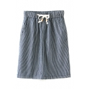 Vertical Thin Stripe Drawstring Waist Skirt