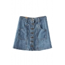 Denim Button Fly Double Pockets A-line Skirt