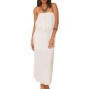 White Strapless Lace Insert Back Cutout Vintage Longline Dress