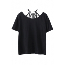 Plain Round Neck Strappy Short Sleeve Tee