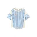 Blue Stripe Kitty 1/2 Sleeve T-Shirt