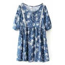 Flower Print  Short Sleeve Peasant Dress