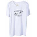 White Rocket and Letter Print Short Sleeve Tee