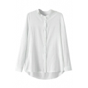 White Long Sleeve Stand Collar Dip Hem Basic Shirt