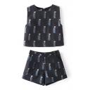 Black Round Neck Sleeveless Doll Print Crop Tanks with Shorts
