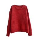 Batwing Candy Color Plain Long Sleeve Soft Sweater with Round Neck
