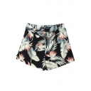 High Waist Plants Print Black Shorts