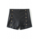 Black PU High Waist Buttons Fitted Shorts