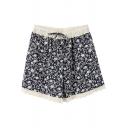 Dark Blue Background Flora Lace Hem Drawstring Waist Loose Shorts