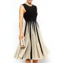 Black&White Block Fan Pattern Sleeveless Midi Dress