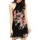 Black Sleeveless Red Blossom Print Round Neck Dress