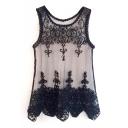 Black Mesh Insert Lace Crochet Sheer Tank
