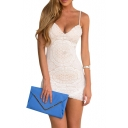 White Lace Crochet Spaghetti Strap Bodycon Dress