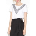 White Tribal Print Short Sleeve Crop Tee