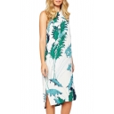 Green Reeds Print Round Neck Sleeveless Dress