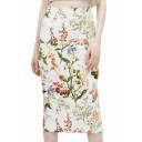 Floral Print High Waist Back Split Skirt