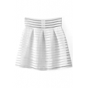 White High Waist Sheer Stripe Bubble Skirt