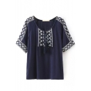 Short Sleeve Ethnic Embroidered Drawstring Neck Vintage Blouse