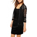 Plain Round Neck Zip Fly Sheer Mesh Jacket with Long Sleeve