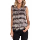 Faux Fur Omber&Plain Collarless Vest