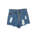 High Rise Zipper Fly Denim Blue Plain Distressed Shorts