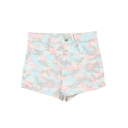 Camouflage Print High Waist Denim Shorts