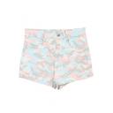 Camouflage Print High Waist Denim Shorts