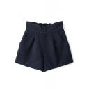 Dark Blue High Waist Three Button Fly Wool Shorts