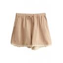 Apricot Lace Hem Drawstring Waist Loose Shorts