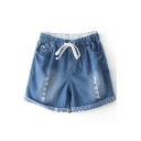 Dark Blue Distressed Detail Dot Print Denim Shorts