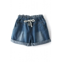Dark Blue Seam Detail High Drawstring Waist Denim Shorts