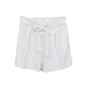 White Vertical Stripe Bow Tie High Waist Casual Shorts