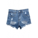 Blue High Waist Ripped Frayed Cuffs Denim Shorts
