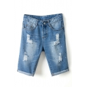 Blue High Waist  Bleached Ripped Cuffed Denim Shorts