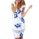 White Cap Sleeve Plunge Neck Blue Flower Sheath Dress