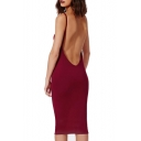 Burgundy U Back Slip Sheath Midi Dress