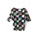 Black 1/2 Sleeve Plaid Character Print Blouse