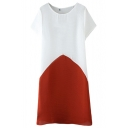 Color Block Short Sleeve Concise Dress
