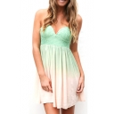 Turquoise Strapless Sweetheart Neck Chiffon Ombre Dress