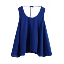 Plain Round Neck Sleeveless Chiffon Top
