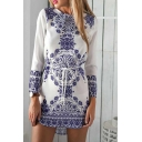 White Long Sleeve Porcelain Print Belted Dress