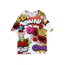Cartoon Letters Baby Print Loose T-Shirt