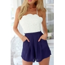 White Lace Top Cross Back Slip Rompers