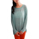 Plain Round Neck Cutout Crochet Long Sleeve Top in Dip Hem